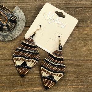 Aztec striped beaded earrings